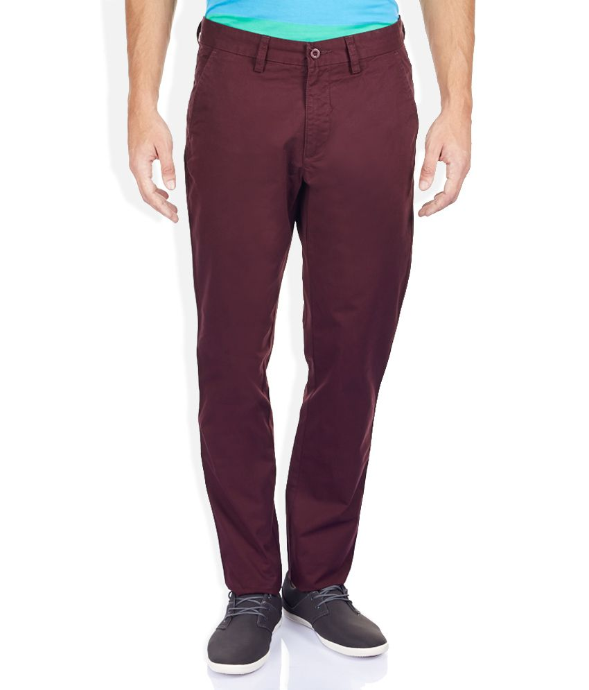 Izod Purple Solid Flat Front Trousers