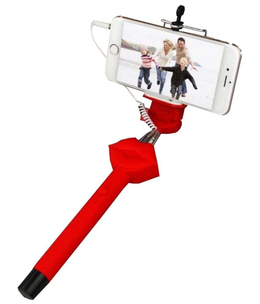 Jo jo Jo Jo Red Lip Superman 3.5mm Wired Selfie Stick Monopod