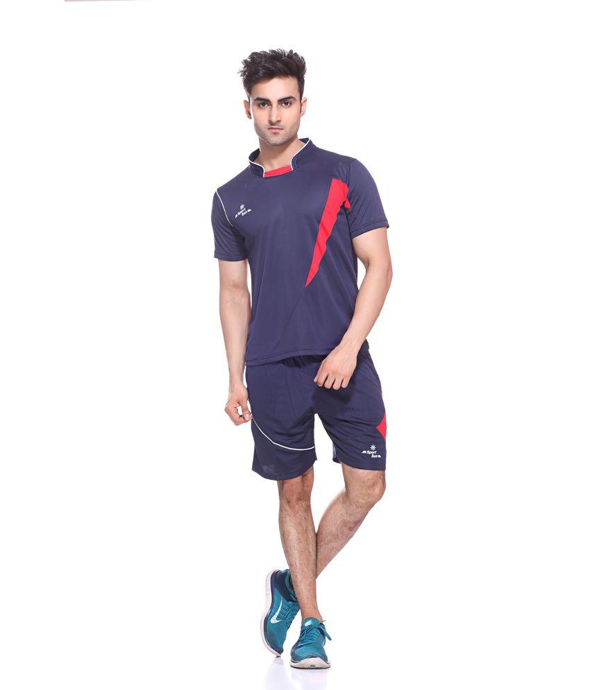 Sport Sun Sportswear Navy Standing Neck Half Football Set