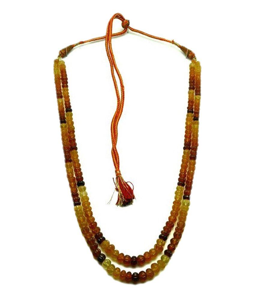 tanishi double line gemstone hessonite necklace buy