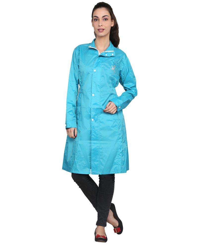 Zeel Green Solid Knee Length Rain Coat