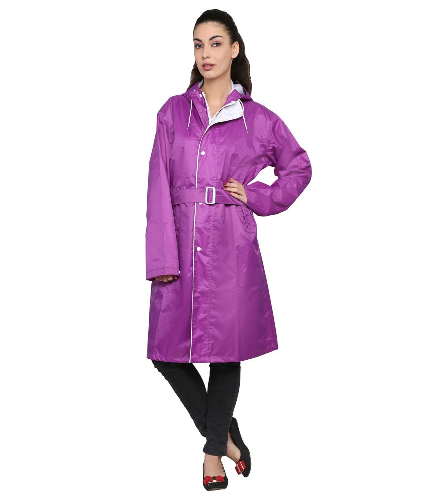 Zeel Purple Solid Knee Length Rain Coat