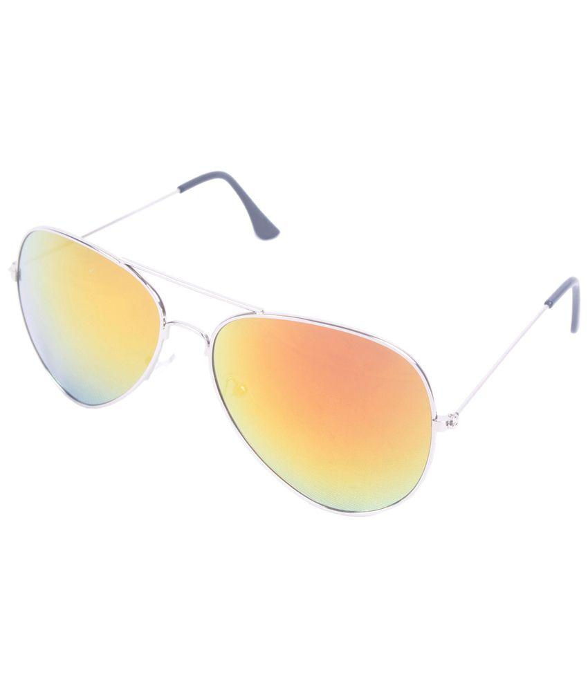 6by6 Trendy Silver & Orange Unisex Aviator Sunglasses