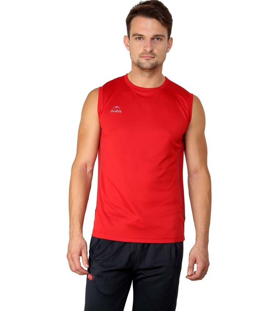 Dida  Red Round Neck Half Sleeve Polyester T-Shirt