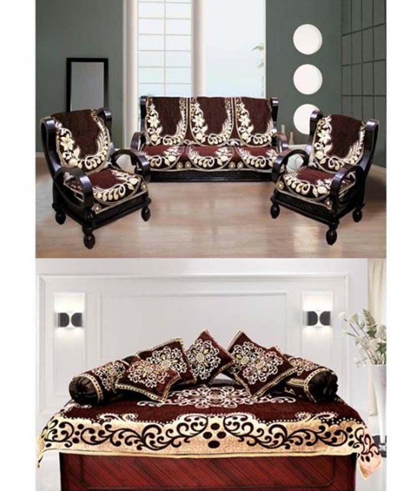 Fk 5 Seater Velvet Set Of 18 Sofa Cover