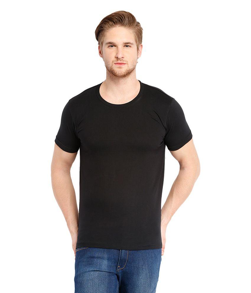 Gauri Enterprises Black Cotton Round Neck Half T Shirt