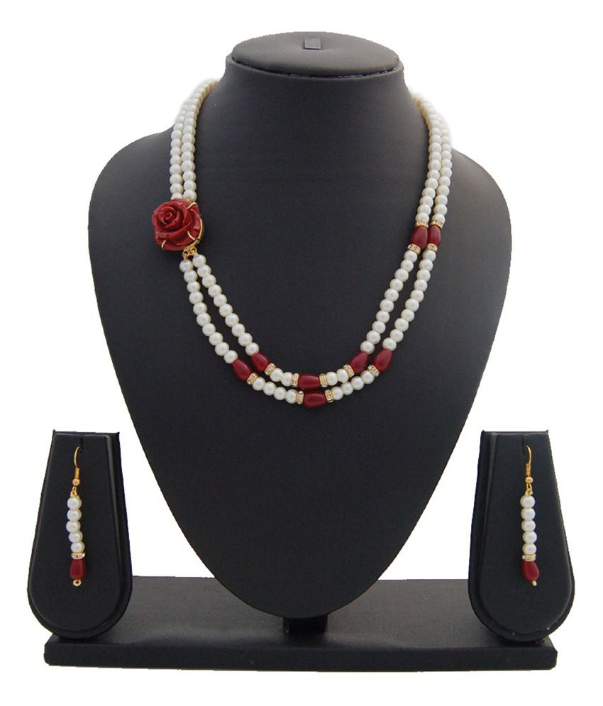 Nisa Pearls White Contemporary Crystal Pearls Necklace Set - Buy ...