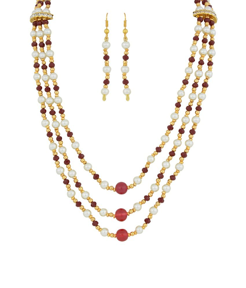 Nisa Pearls White Contemporary Crystal Pearls Necklace Set