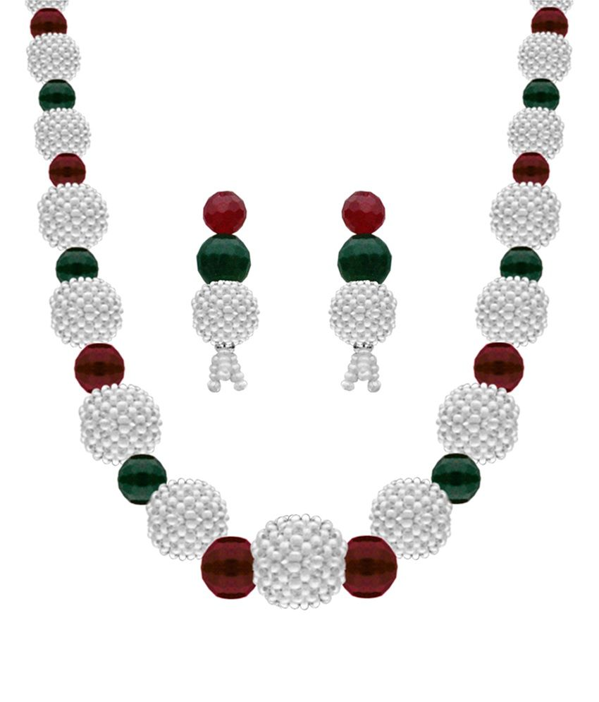 Nisa Pearls White Contemporary Onyx Crystals Necklace Set