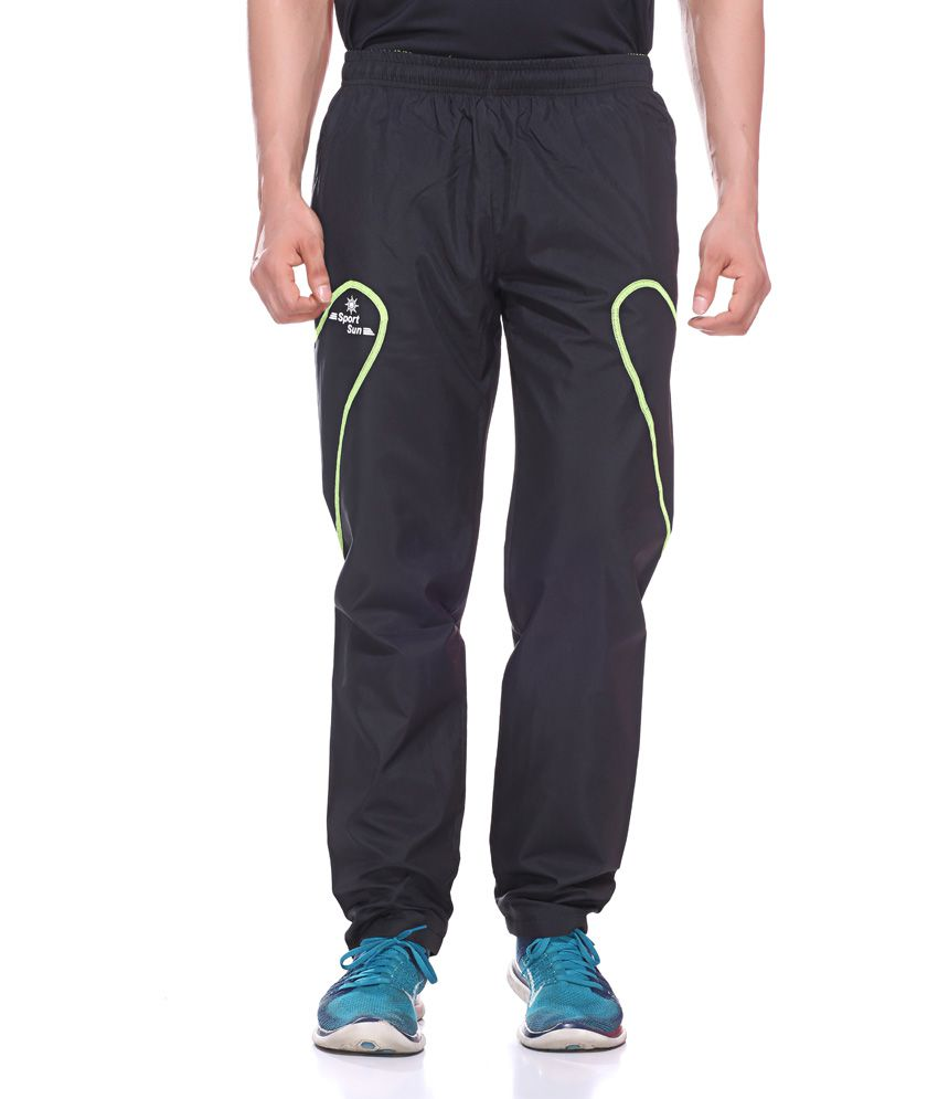 Sport Sun Black Polyester Fitness Trackpant