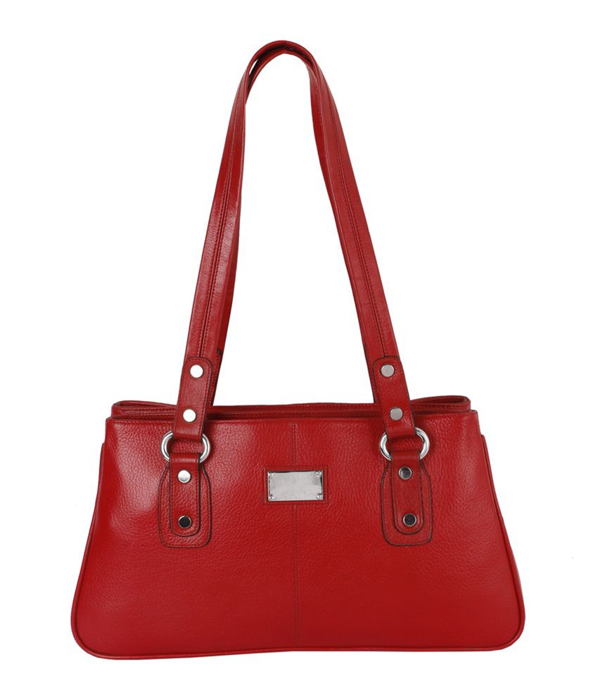 Zifana Red Leather Shoulder Bags