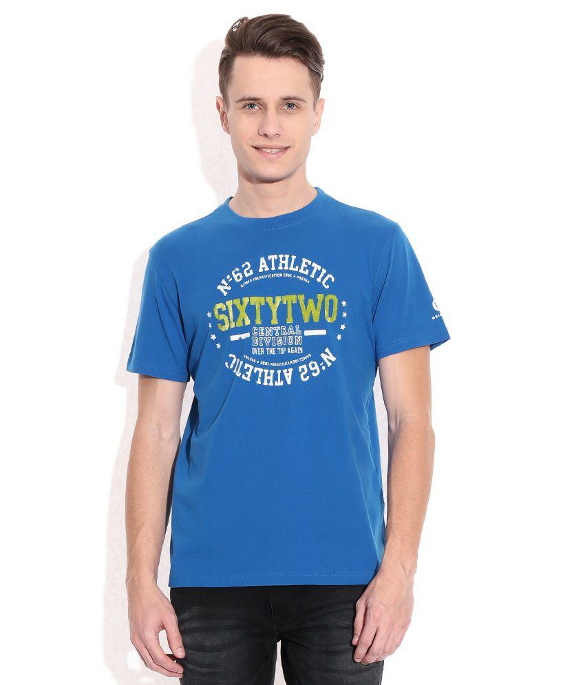 American Swan Blue Round Neck T-Shirt