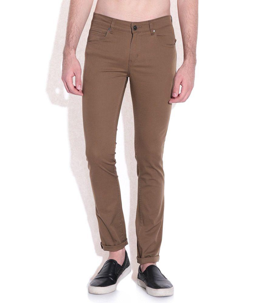 American Swan Brown Slim Fit Trousers