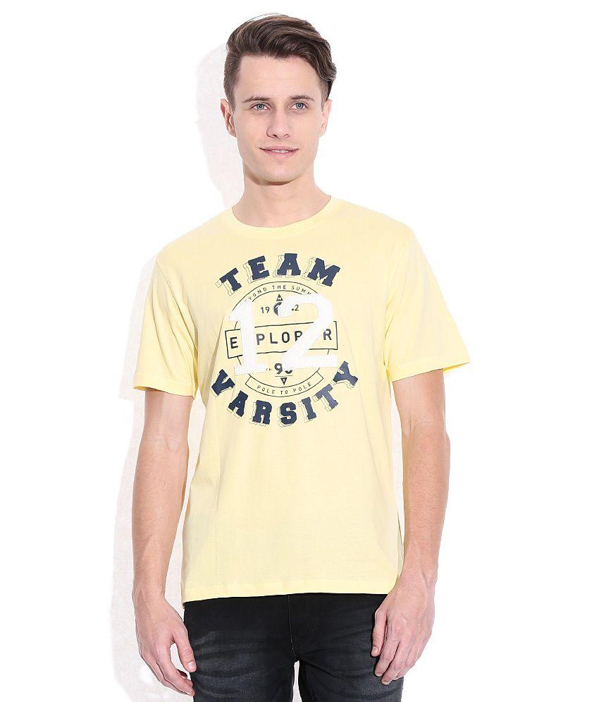 American Swan Yellow Round Neck T-Shirt