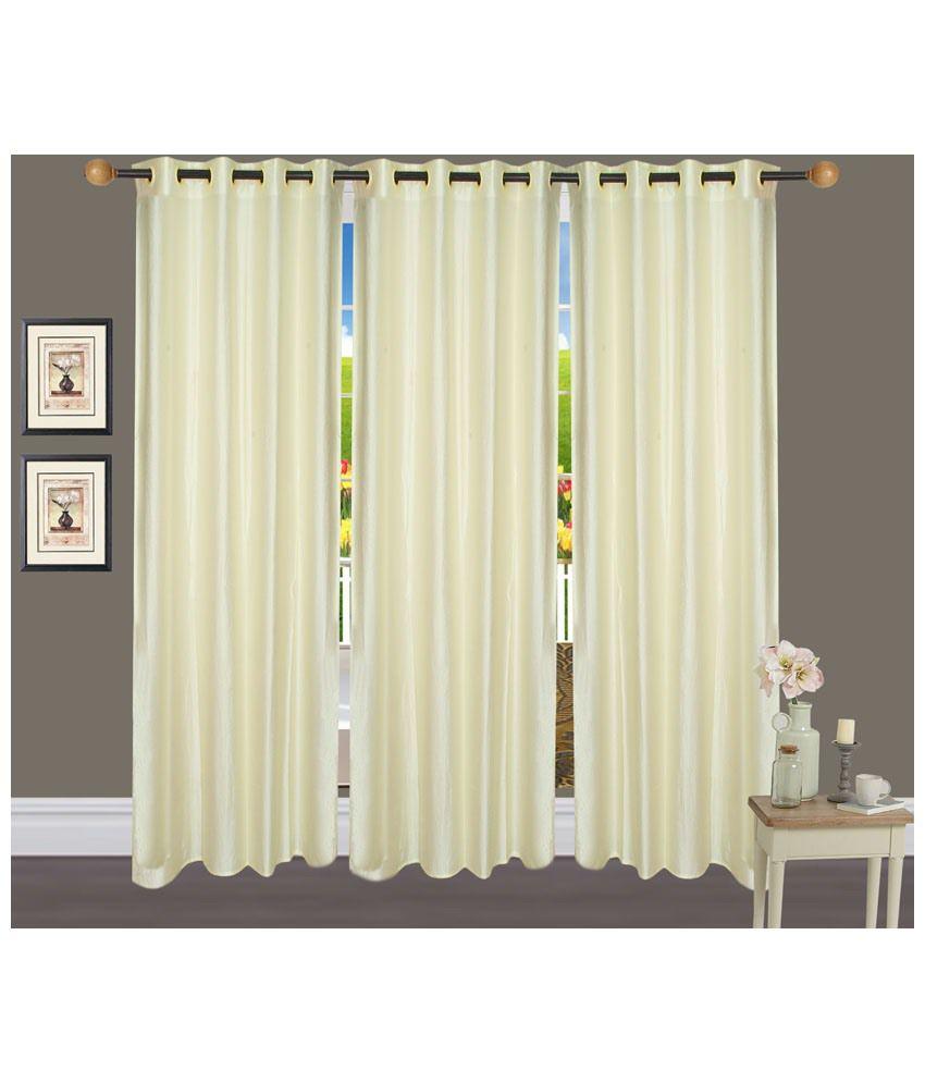 Handloom Hut Set of 3 Door Eyelet Curtains Solid Multi Color
