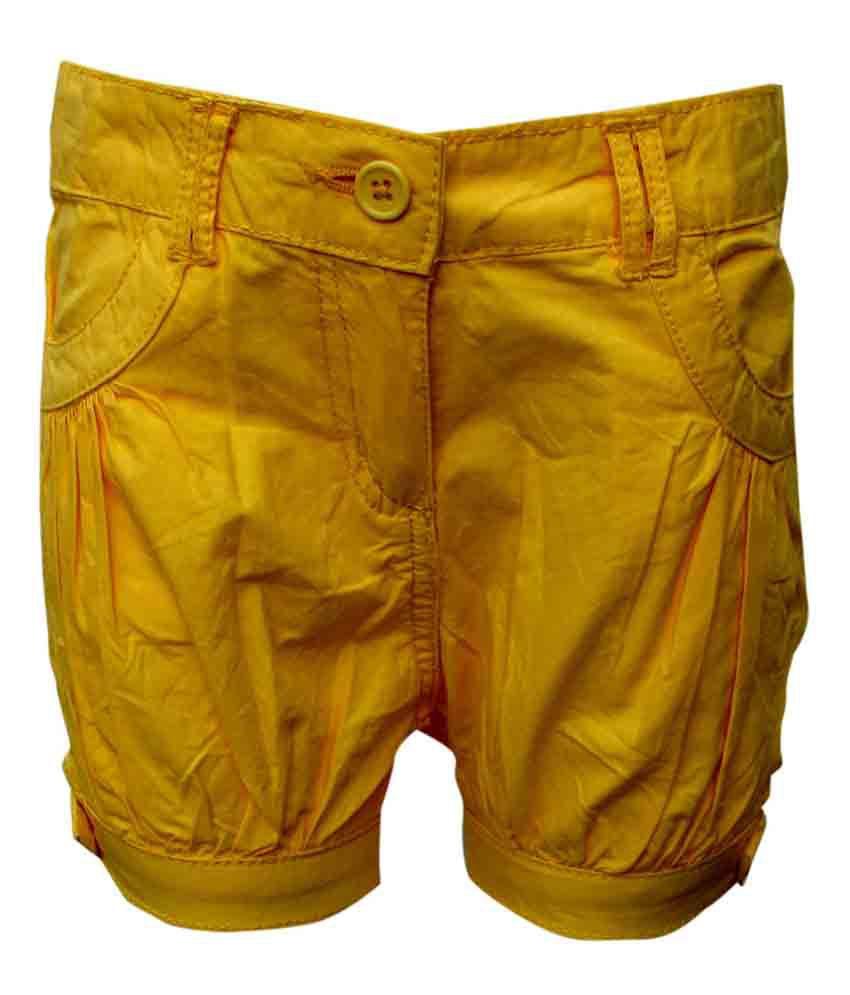Little Flores Yellow Solids Cotton Short