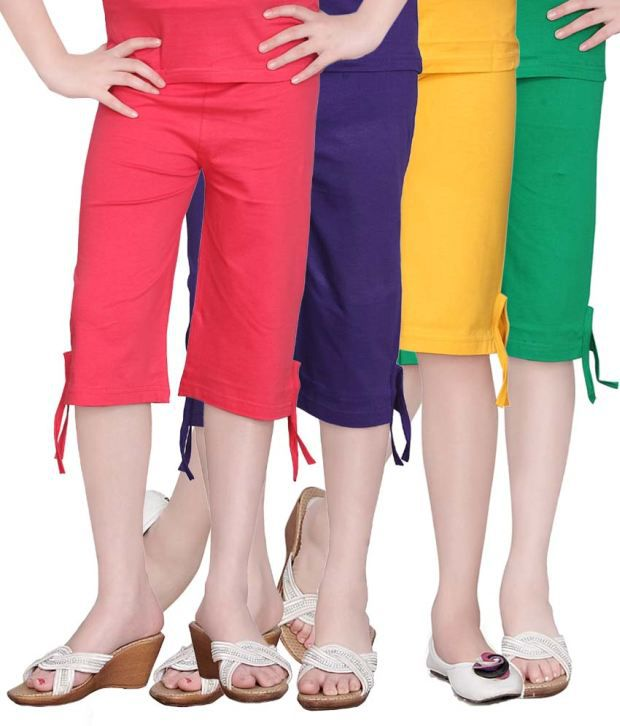 Sini Mini Multicolour Cotton Capri For Girls - Set Of 4