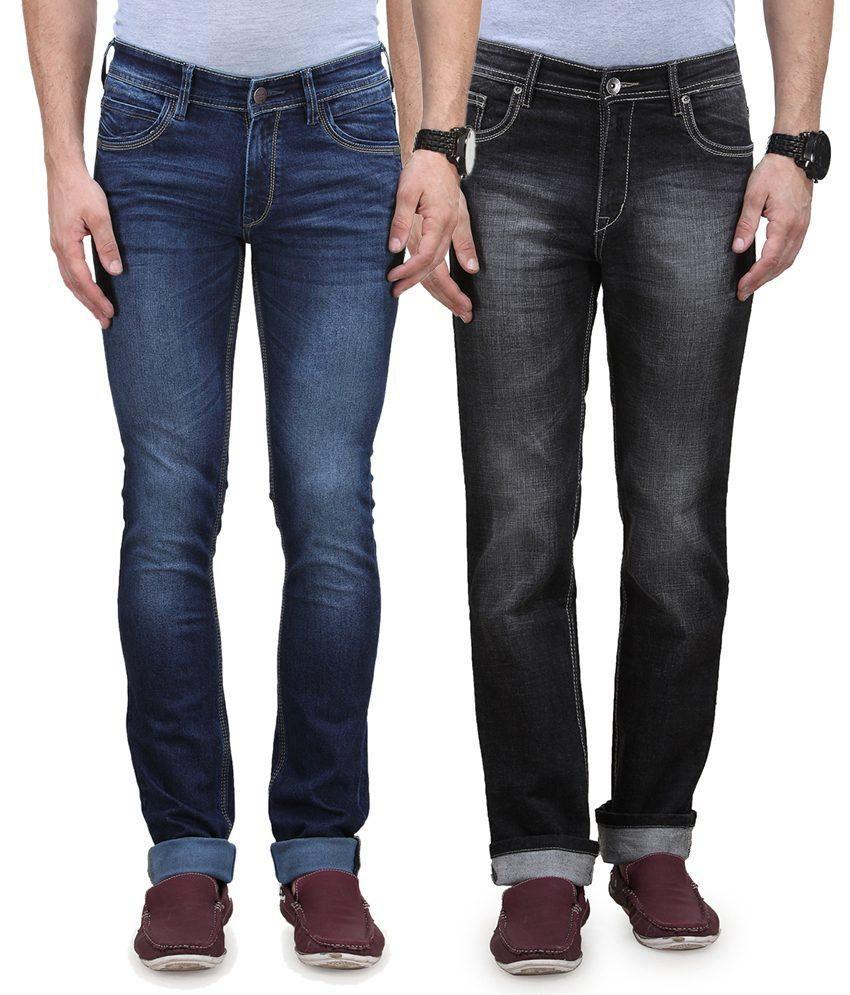 Vintage Blue Jeanswear Multicolour Cotton Jeans Pack Of 2