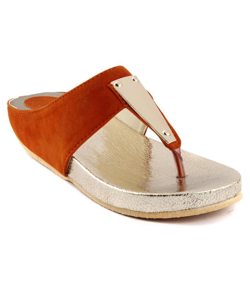 Almaira Velvet Orange Wedges Slip-On