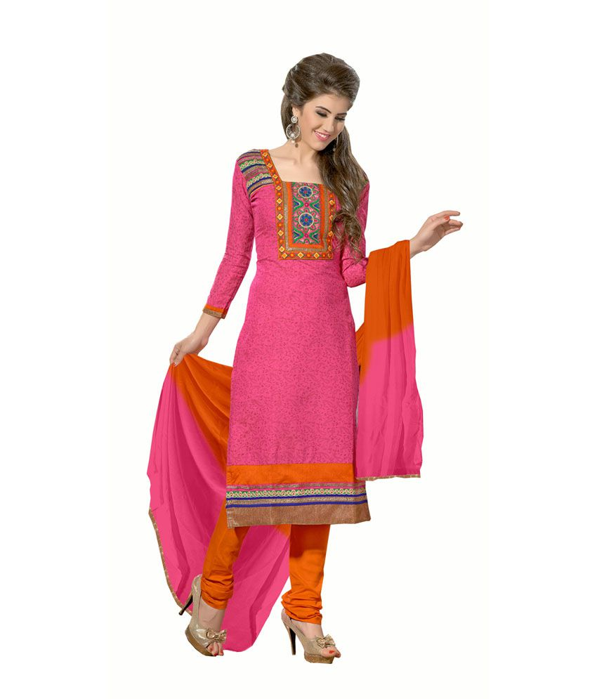 Bansri Fashion Pink Chanderi Stitched Suit