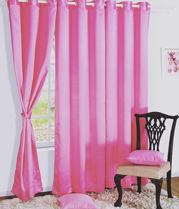 HOMEC Set of 4 Door Blackout Eyelet Curtains Solid Black&Pink