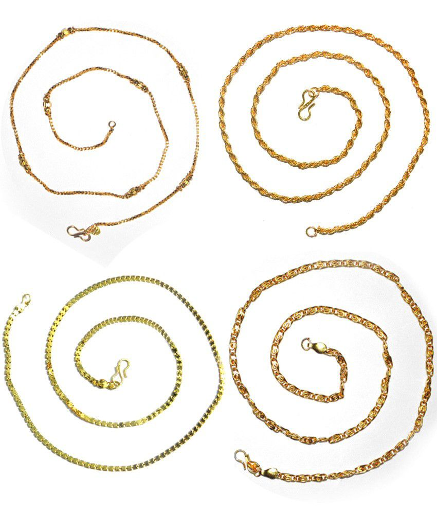 Abstra Gold Plated Brass Chain - Set Of 4