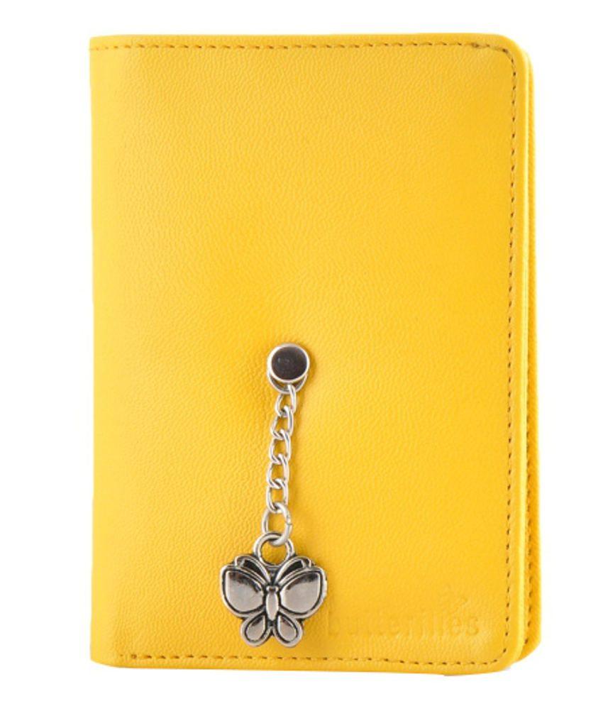 Butterflies Yellow PU Wallet for Women