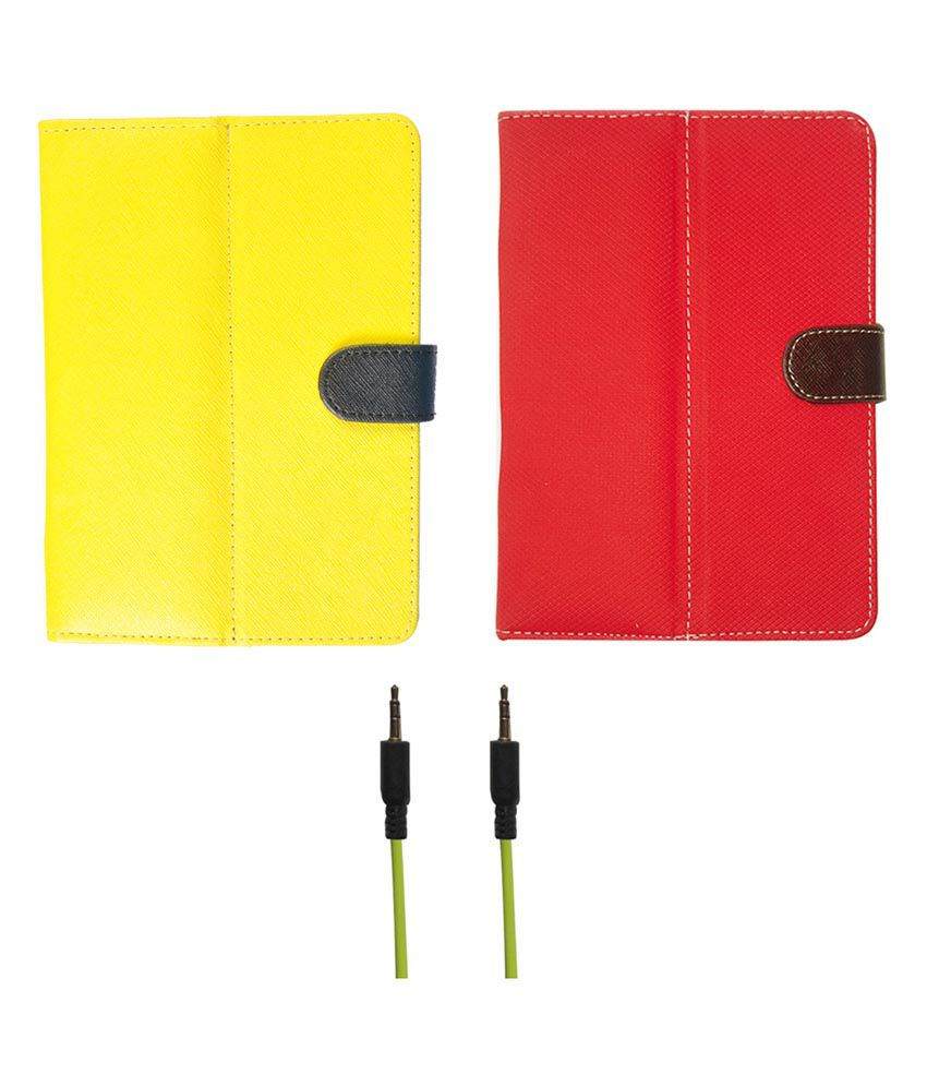 Kanu Flip Cover For Toshiba Excite Go with Green Aux Cable - Yellow and Green