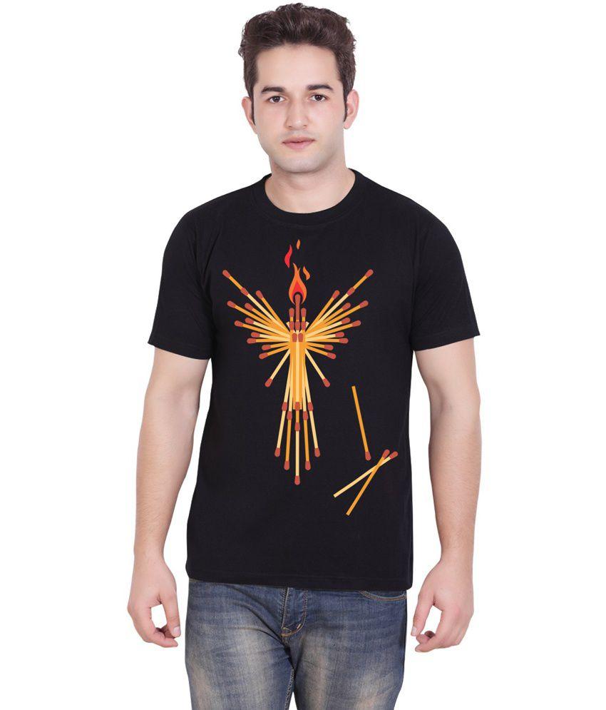 Tantra Black Cotton Black Match Sticks Round Neck T-shirt