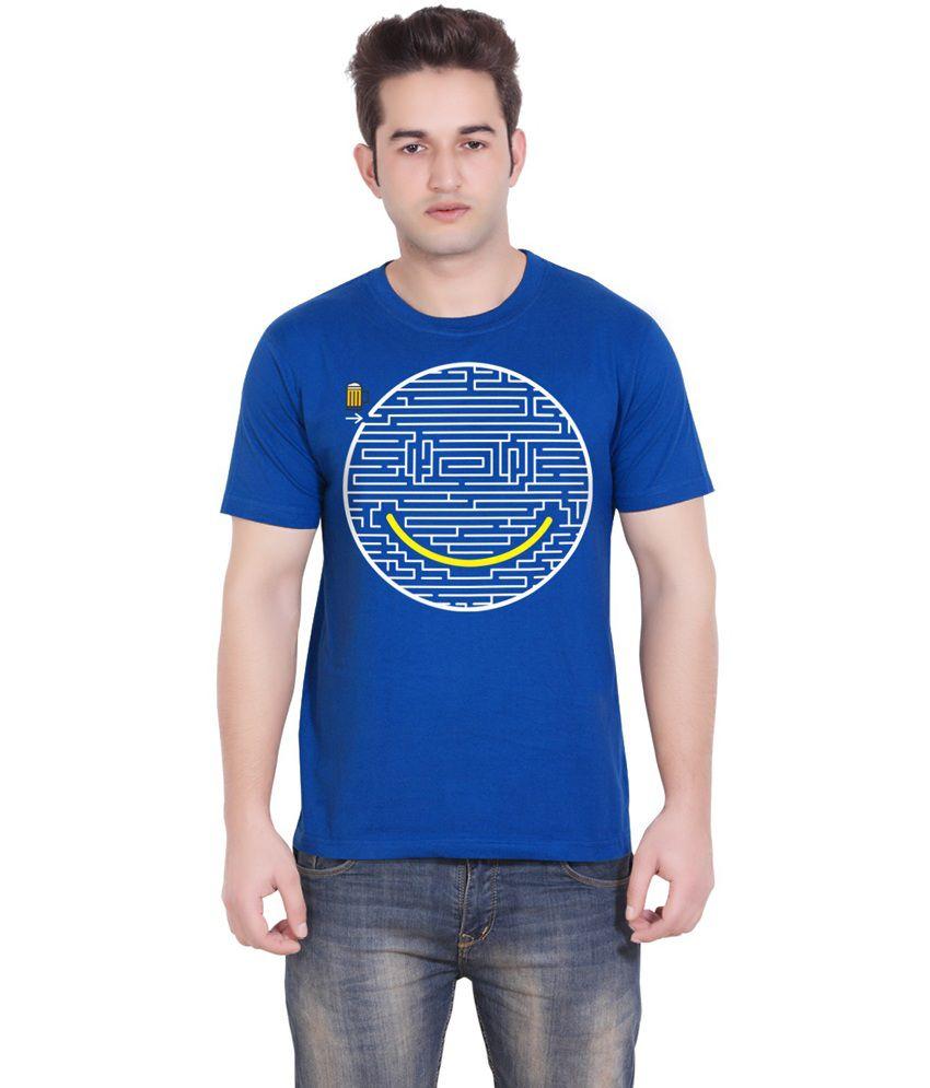 Tantra Blue Cotton Jigsaw Smile Round Neck T-shirt