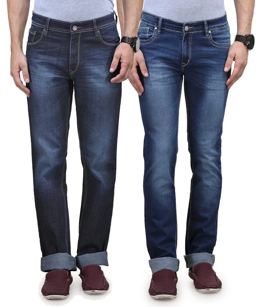 Vintage Blue Jeanswear Blue Cotton Regular Faded Jeans Pack Of 2 Denim