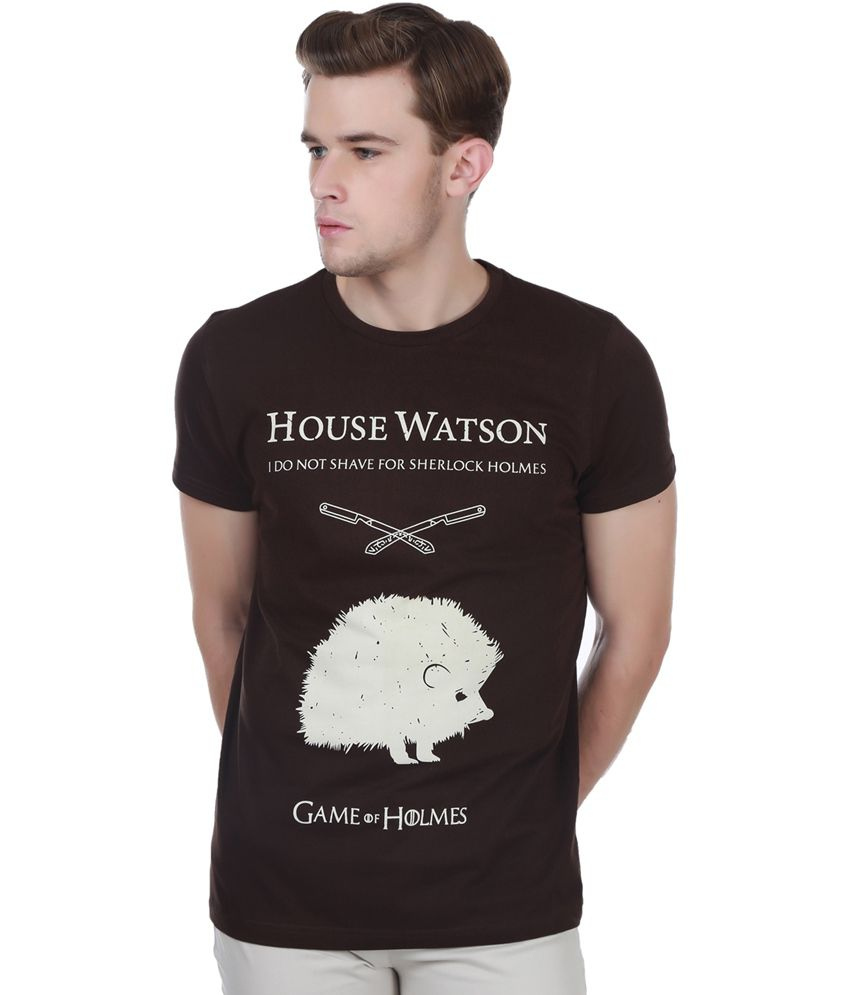 White Kalia Cotton Round Neck Half Sleeves Sherlock House Watson Black Printed T - Shirt