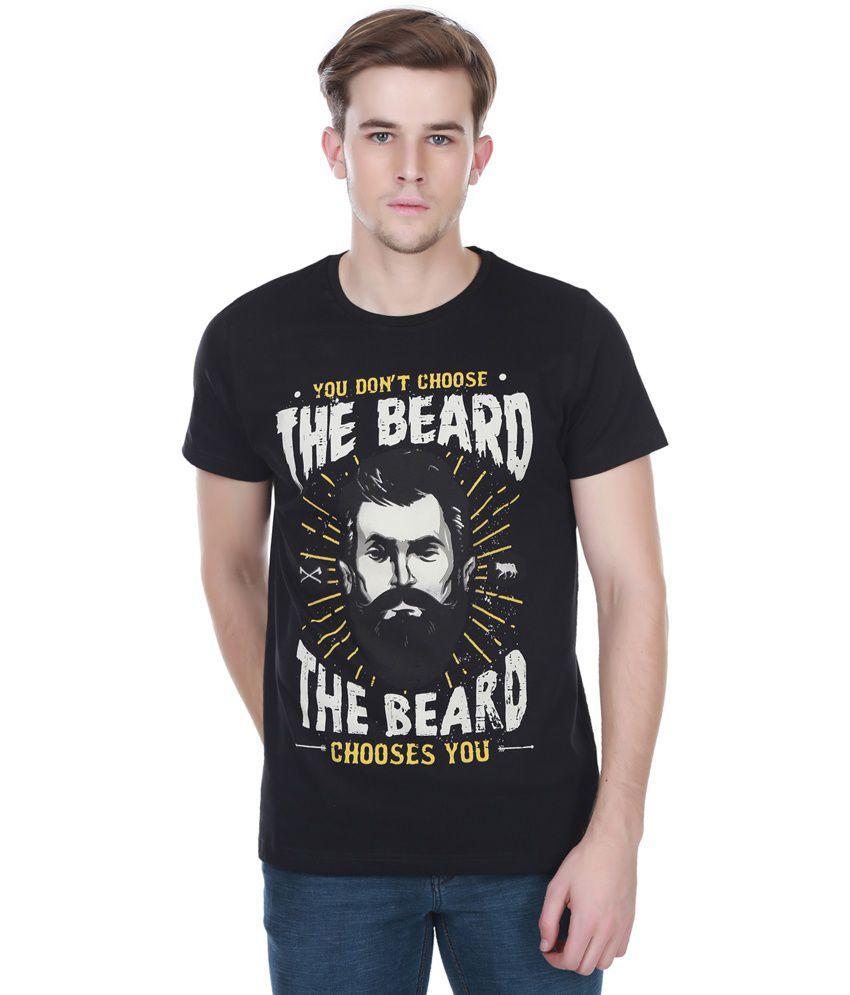 White Kalia Cotton Round Neck Half Sleeves Beard Lovers Black Printed T - Shirt