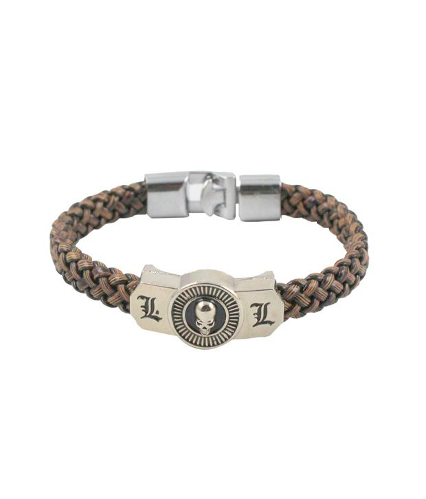 Wise Pebbles Knitted Wrist Band With Stainless Steel Skull clasp For Men
