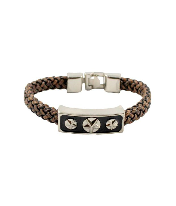 Wise Pebbles Knitted Wrist Band With Stainless Steel Star clasp For Men