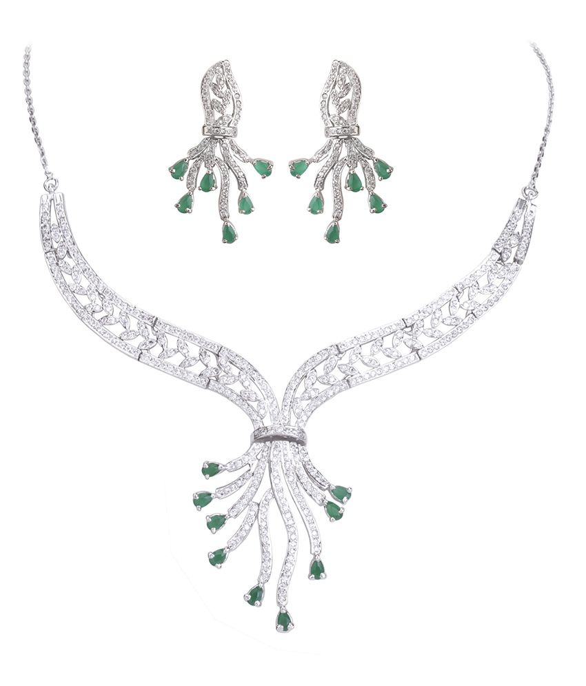 DDPearls Ariana collection sterling silver rays pendant emerald and white colored AD necklace set for women.