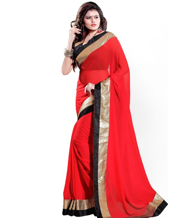Golden Black Designer-border-light Red-saree - Buy Golden ...