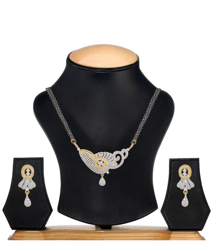 Jewels Galaxy Two Tone Mayur Design American Diamond Mangalsutra