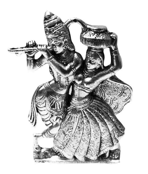 krg enterprises silver aluminium handicraft beautiful radha krishna idol