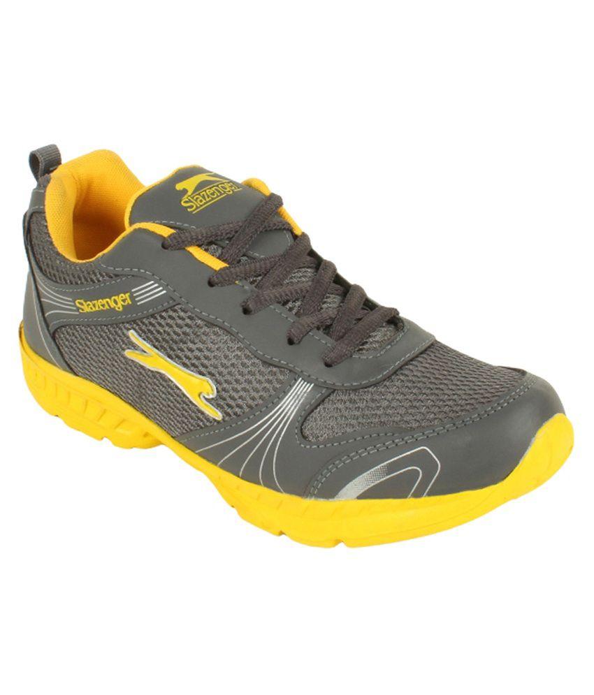 Slazenger Grey and Yellow Running Shoes