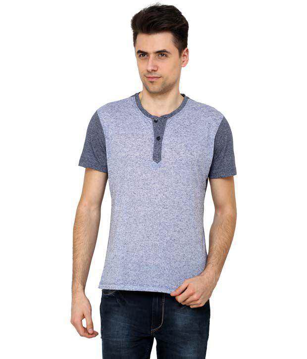 Wear Your Mind Short Sleeve Navy Henley Tshirt