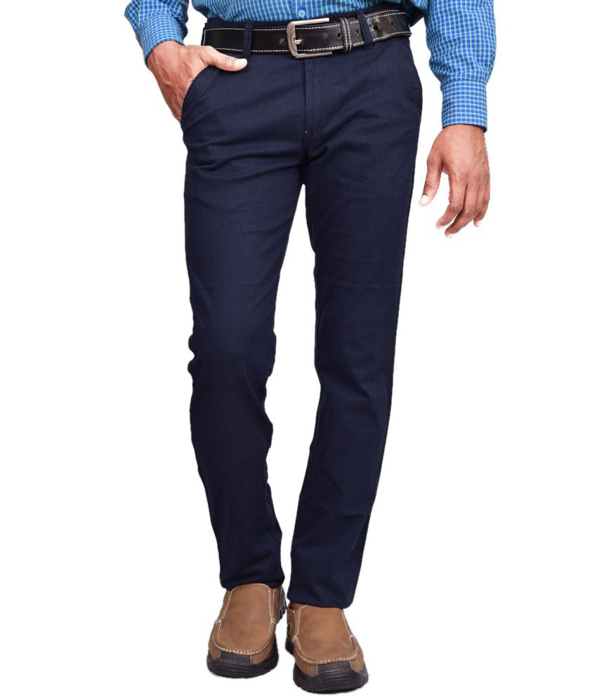 American Noti Blue Cotton Lycra Casuals Wear Trouser