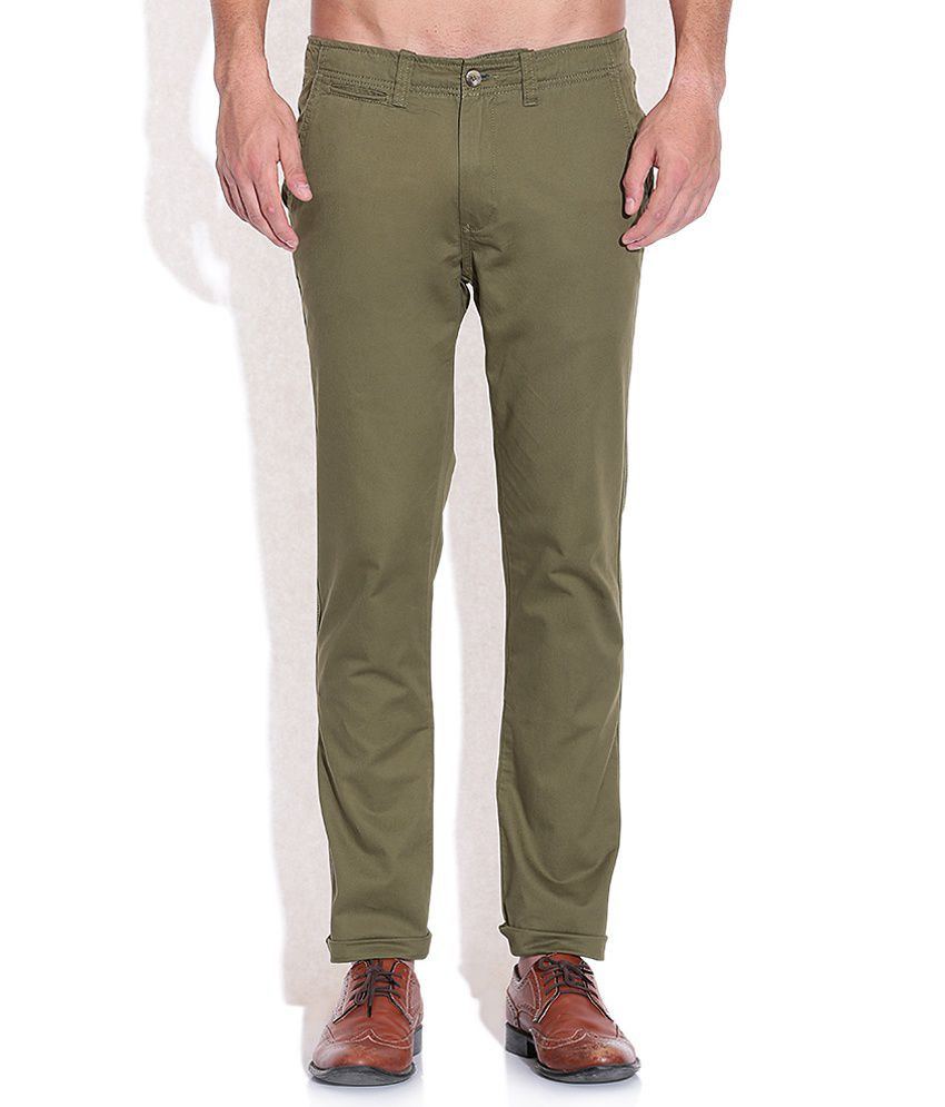 Arrow Sports Green Slim Fit Casual Trousers