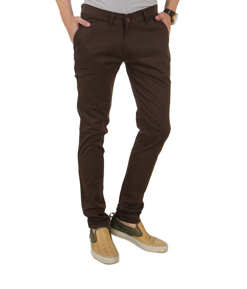 Group Collections Brown Cotton Blend Men Jeans