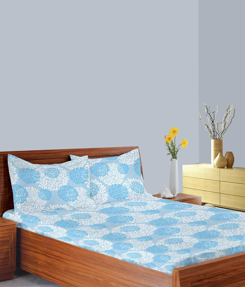 indian bedroom furniture catalogue%0A Welhome By Welspun Blue Cotton Double Bed Sheet with   Pillow Covers