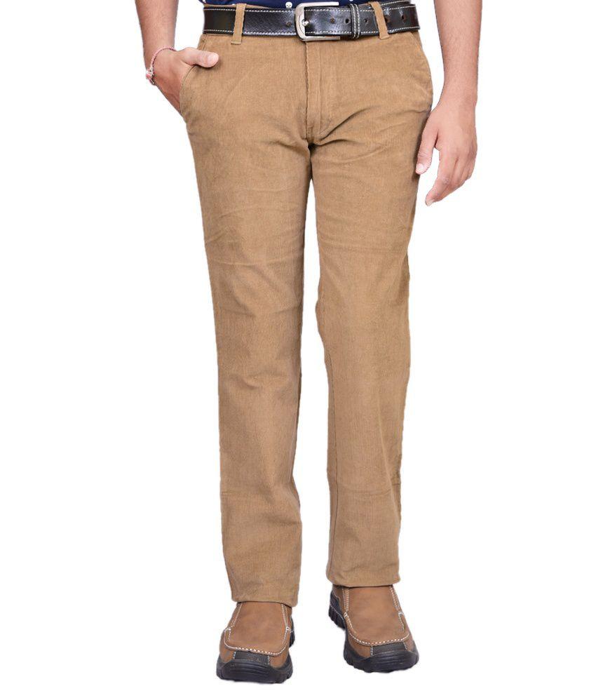 British Terminal Khaki Cotton Lycra Slim Casual Trouser For Men