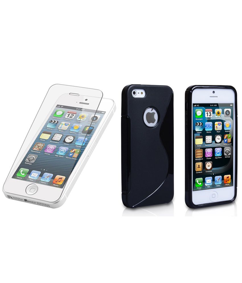 Apple Apple iphone 5S Back Cover by Ezzeshopping - Black with Tempered Glass Screen Guard