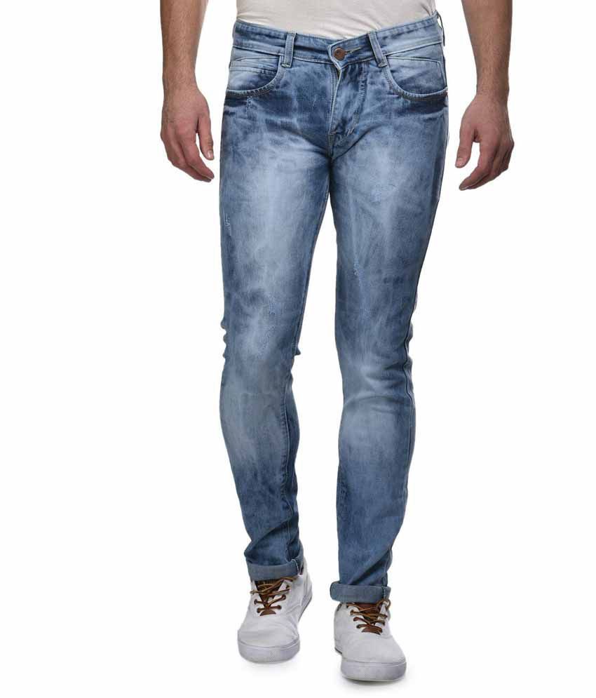 Flying Port Light Blue Stretchable Faded Jeans For Men