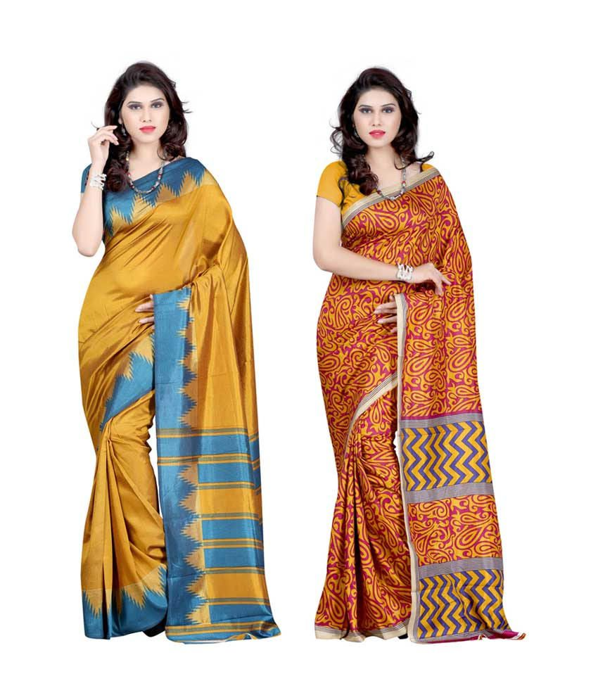 Paradise Creation Faux Pashmina Silk Saree-Pack Of 2