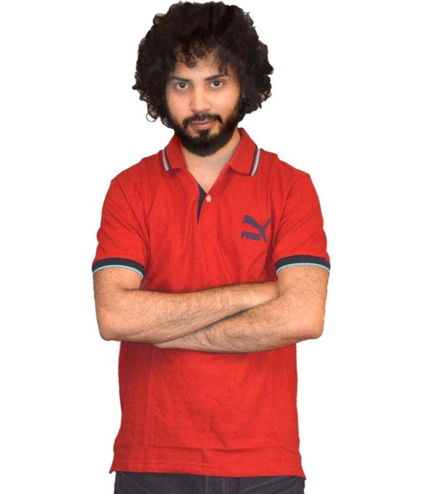 Puma Red Solid Half Sleeves Polo T-Shirt